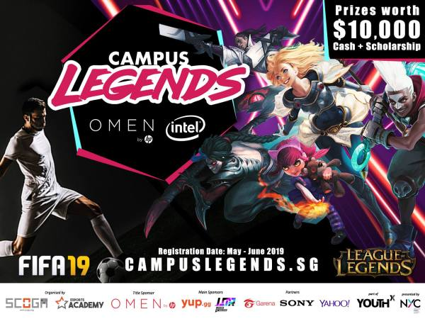 SCOGA's promotional poster for Campus Legends 2019 for the games League of Legends and FIFA 19.