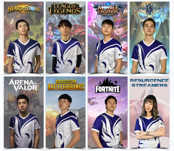 Team Resurgence's roster of games and players.