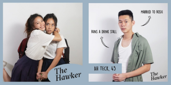 The Hawker features Ah Teck who runs a drink stall and is married to Rosie