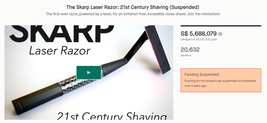The SKARP Laser Razor is an example of a project that got suspended on Kickstarter due to the lack of an actual prototype, despite preaching groundbreaking technology. Ambitious?