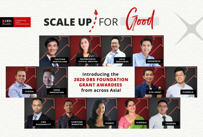 A DBS Foundation poster features the 2020 DBS Foundation Grant awardees from across Asia, including Singapore-based social enterprise, Zigway and Ento Industries.