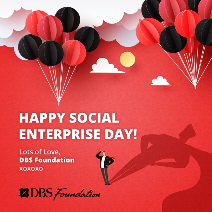 """A DBS Foundation poster with a celebratory theme that wishes """"Happy Social Enterprise Day!"""""""