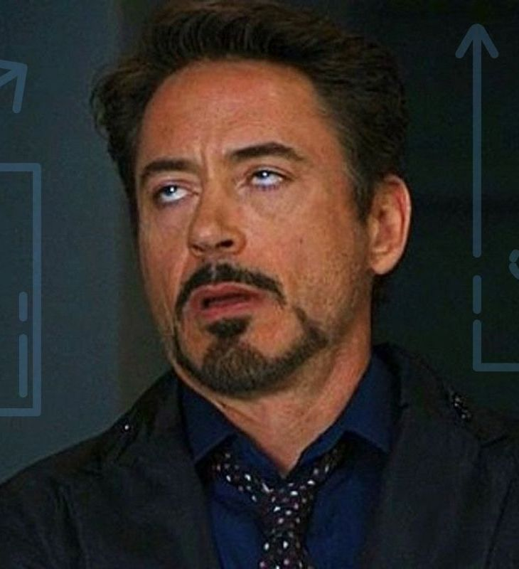 Robert Downey Jr. as Iron Man rolls his eyes at the thought of accounting, depicted by graphs.