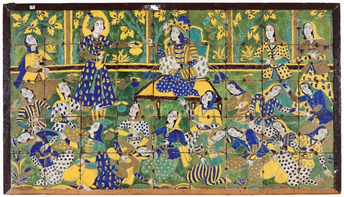 A view of an 18th century tile panel, depicting the fruit-cutting scene from the life of the prophet Yusuf, as narrated in the Quran.