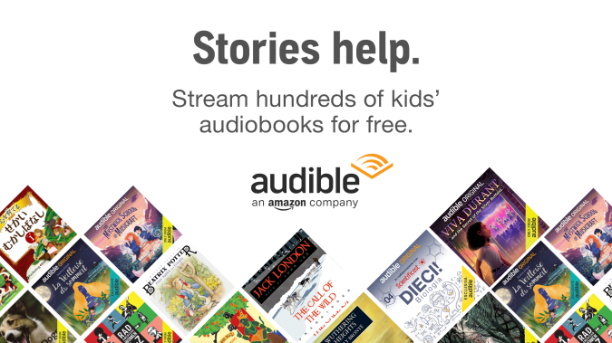An Audible banner featuring children's audiobooks, which are available for streaming for free.