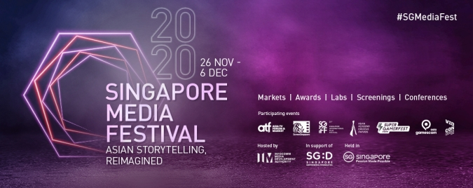 A 2020 Singapore Media Festival banner reveals participating events such as Singapore International Film Festival, SuperGamerFest, gamescom asia and VidCon.
