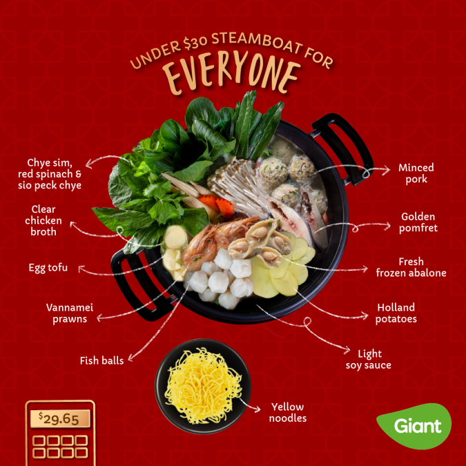 Giant shows steamboat ingredient combination for CNY reunion dinners.