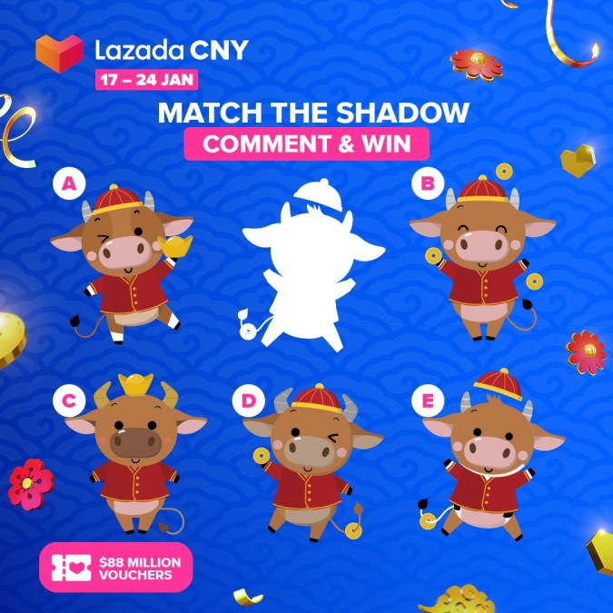 Part of Lazada's CNY campaign is a social media contest inviting followers to comment to win vouchers.