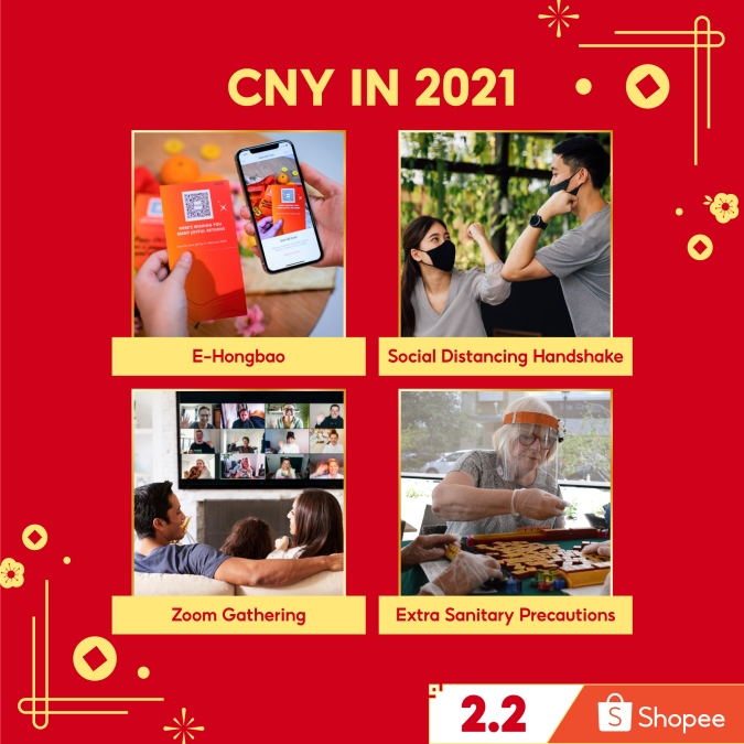Shopee does a witty pictorial representation of what CNY is like in 2021 - basically zoom gatherings and masking up!