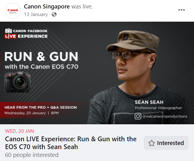 Canon Singapore often host Canon LIVE experience, inviting professionals to talk about their knowledge and tips on using Canon cameras.