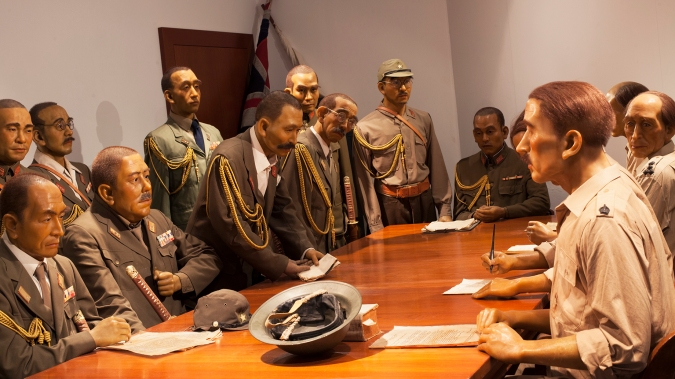 The historical re-enactment of the surrender at the Ford Motor Factory Boardroom can be viewed at Fort Siloso Sentosa.