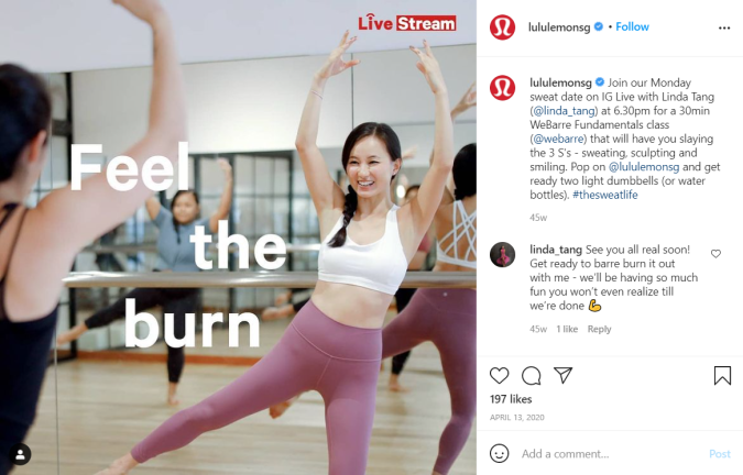 Lululemon SG hosted livestream sweat session classes for their followers during circuit breaker.