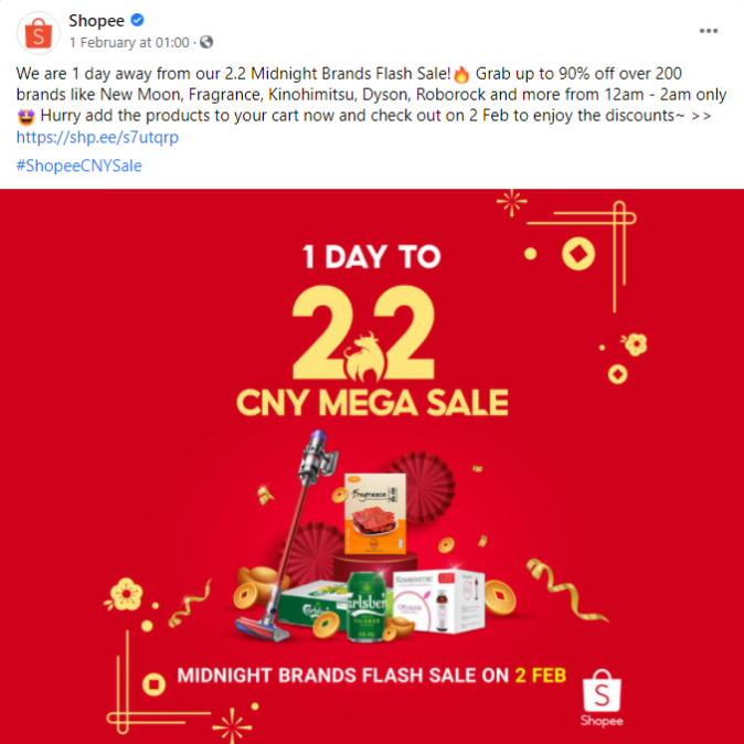 One of Shopee 2.2 CNY mega sale countdown posts on facebook.