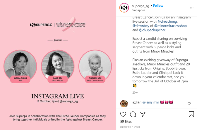 Superga and The Estee Lauder Companies collaborated for an IG live talk to raise breast cancer awareness.