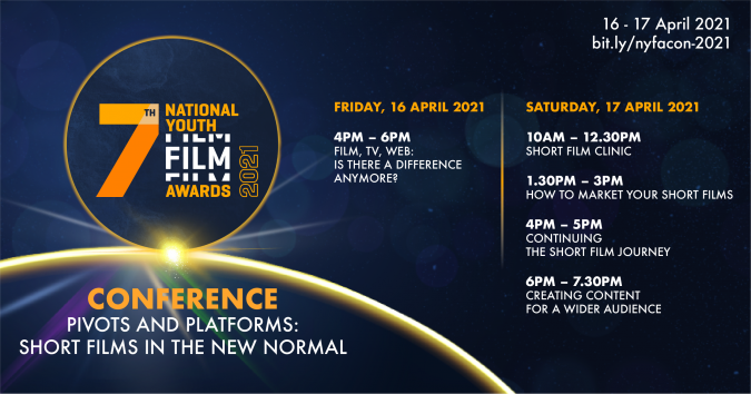 Singapore's National Youth Film Awards 2021 Conference banner, featuring the full programme lineup.