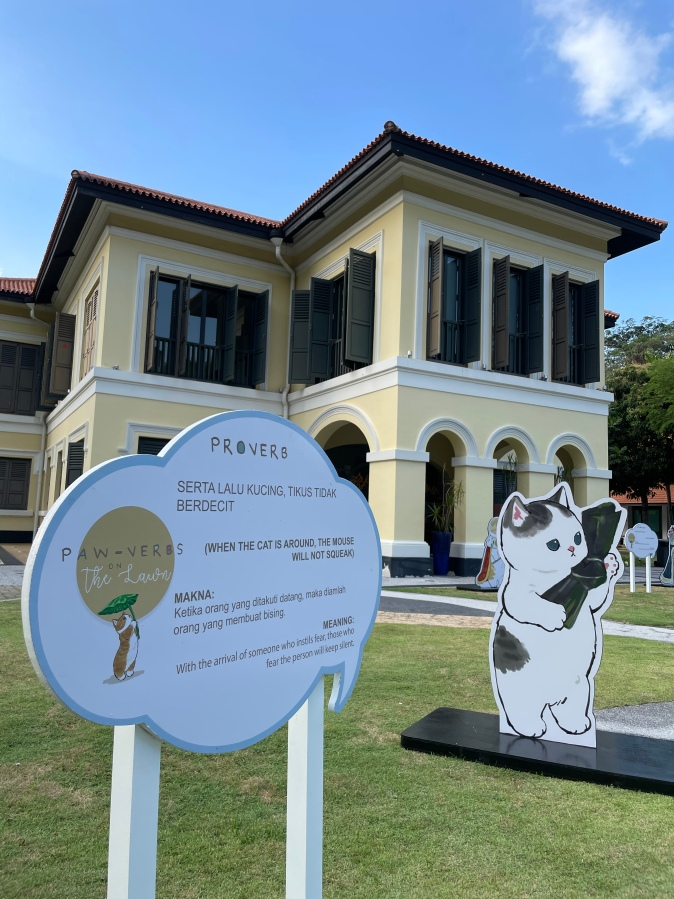 Paw-verb on the Lawn at Malay Heritage Centre has adorable cat standeeds alongside malay proverbs that feature the beloved animal.