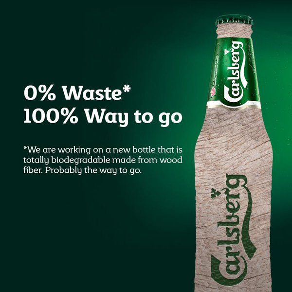 """A Carlsberg ad of their prototype for the world's first """"paper"""" beer bottle."""