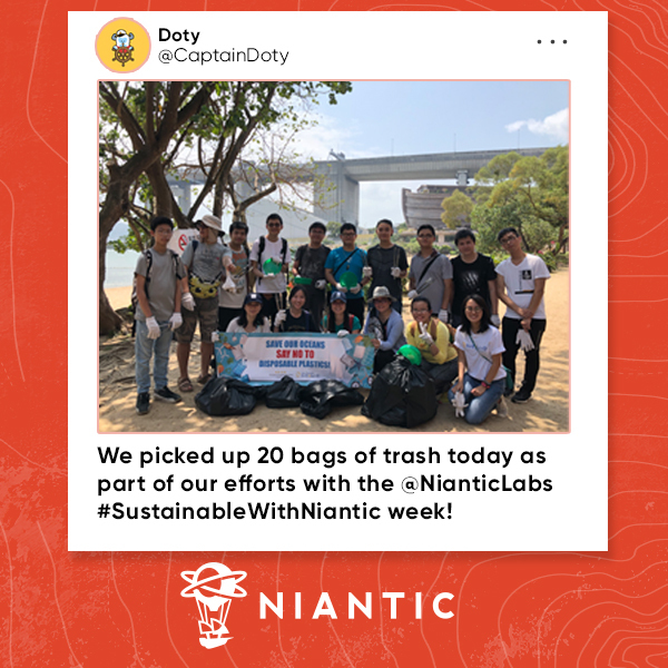 Social media sharing of a group of Pokemon Go players who just completed local clean up as part of Niantic's sustainable week challenge.