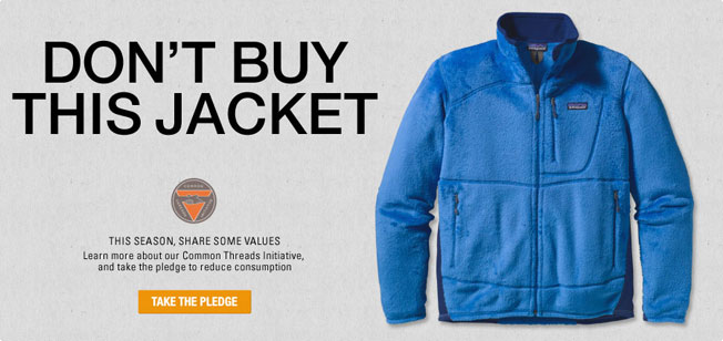 """Patagonia's provocative """"Don't Buy This Jacket"""" advert was released on Black Friday to address excessive consumerism."""