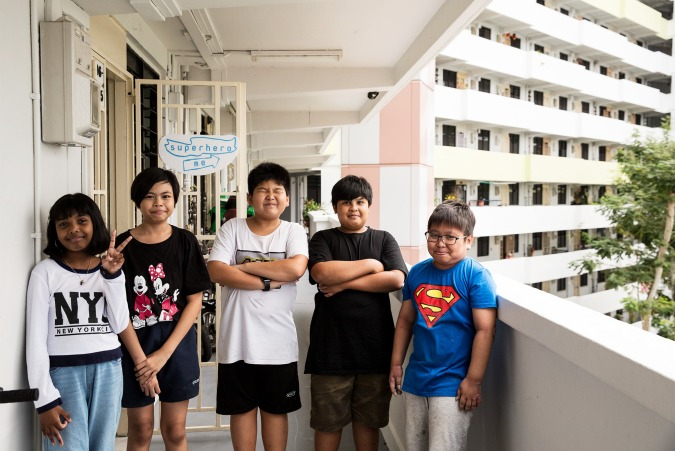 """The five young artistes who put together the """"Homerun"""" exhibit to mark their 6-year journey with Superhero Me."""