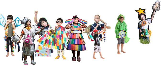 Cutout images of children as part of the Superhero Me movement.