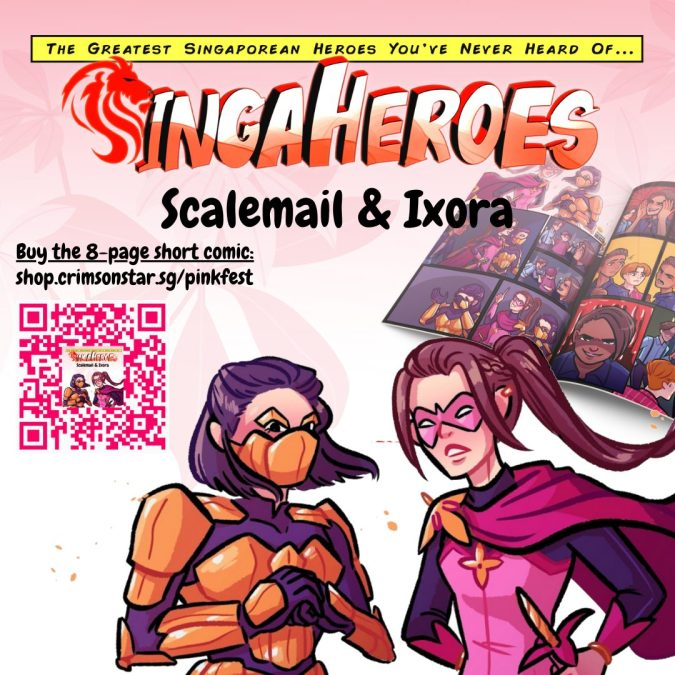 A limited 8-page Pink Fest print run of LGBTQ+ superhero duo, Scalemail & Ixora the Flower Knight, is available for purchase.