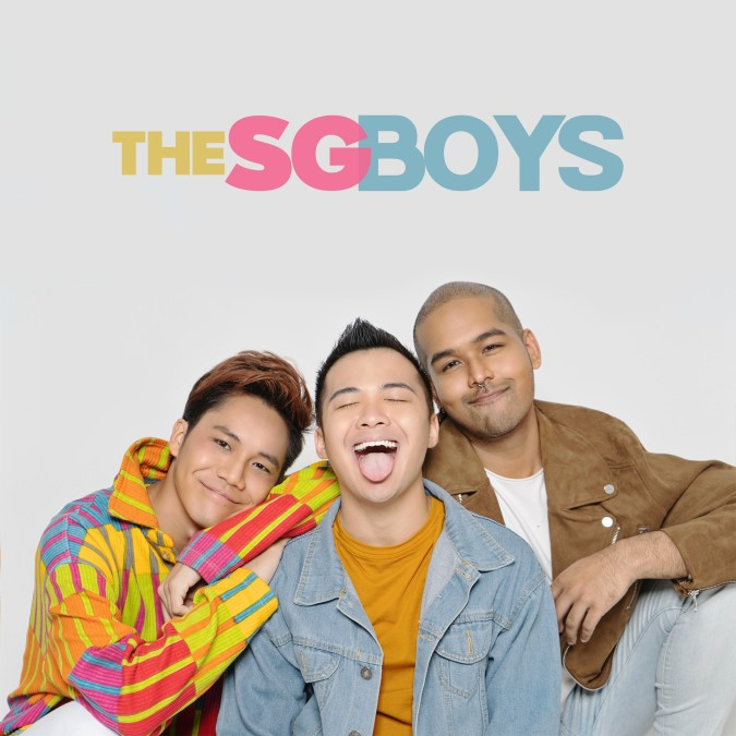 Group shot of The SG Boys, a podcast on Spotify that focuses on LGBTQ+ topics and hosted by Joshua Simon, Kennede Sng and Sam Jo.